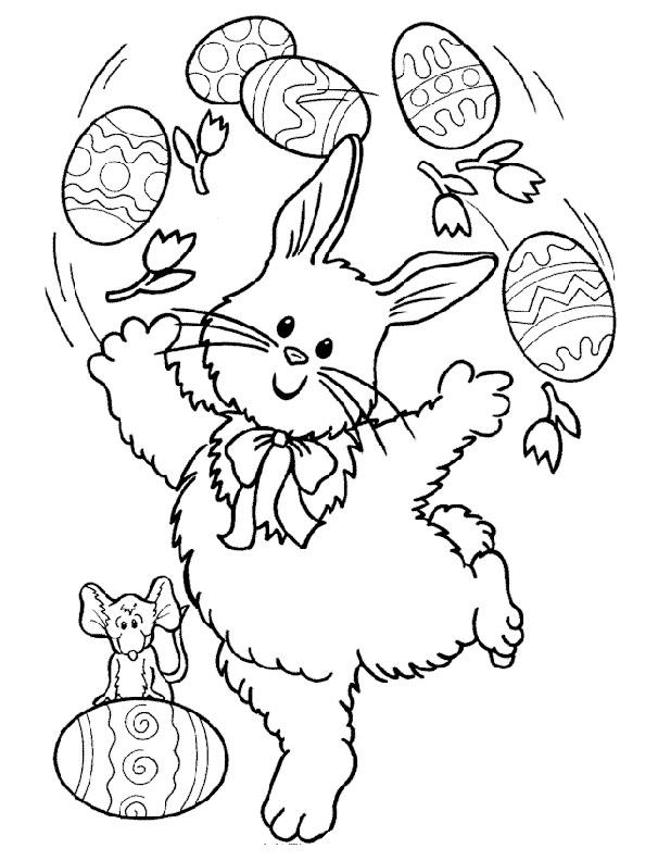 Coloriage et dessins gratuits Lapin Jongleur dessin animé à imprimer