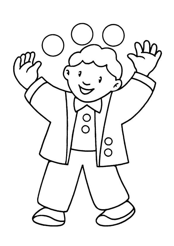 Coloriage et dessins gratuits Le Jongleur heureux à imprimer