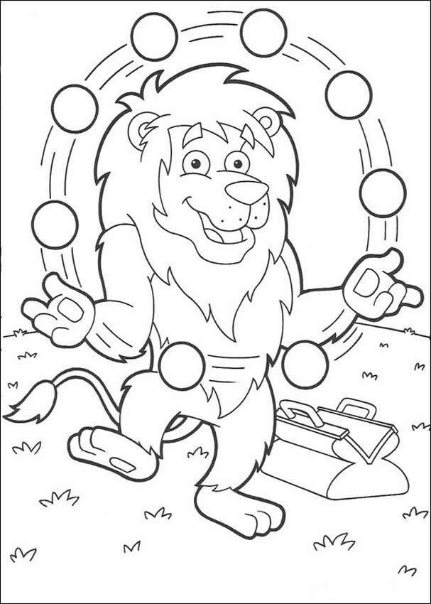 Coloriage et dessins gratuits Le Lion Jongleur à colorier à imprimer