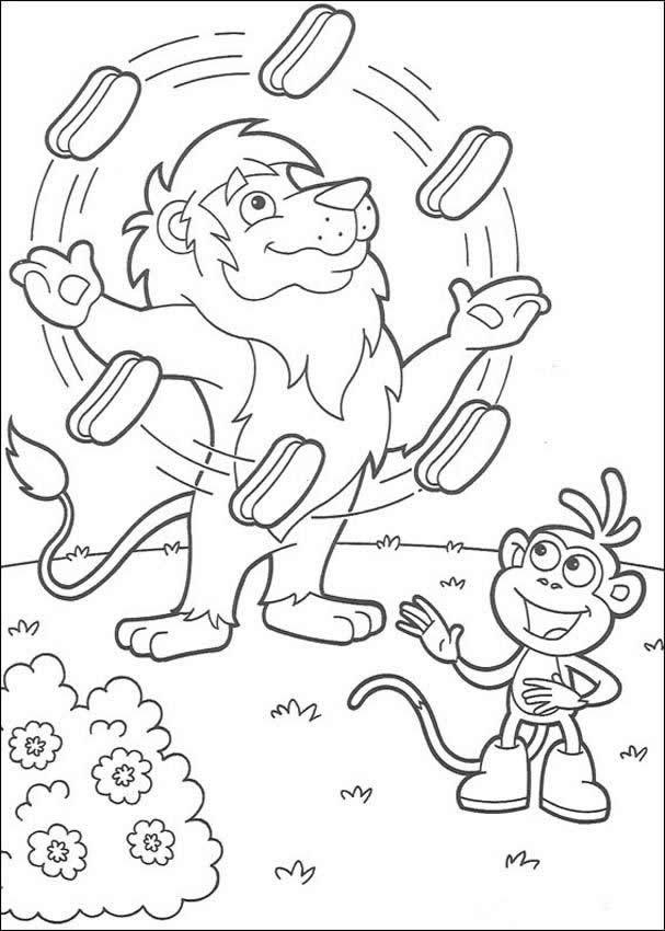 Coloriage et dessins gratuits Le Lion Jongleur pour découpage à imprimer