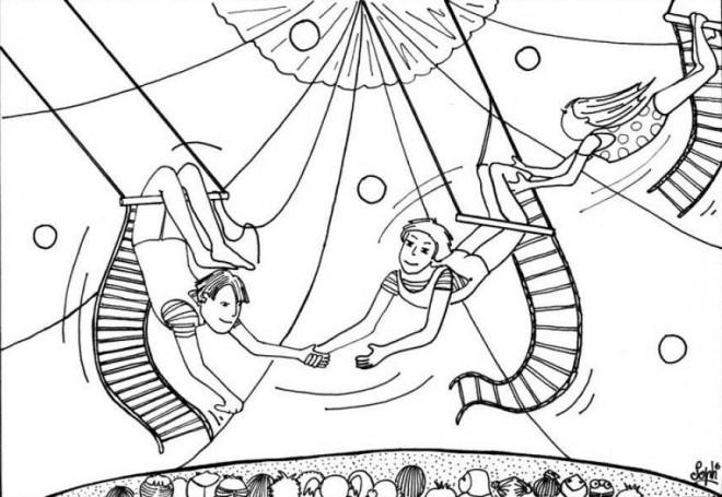 Coloriage et dessins gratuits Scène des Acrobates à imprimer
