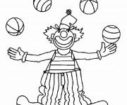 Coloriage Un clown jonglant avec quatres balles