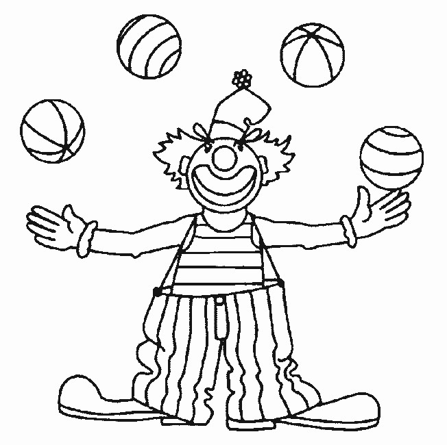 Coloriage et dessins gratuits Un clown jonglant avec quatres balles à imprimer