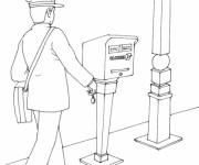 Coloriage L'agent de poste apporte le courrier