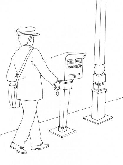 Coloriage et dessins gratuits L'agent de poste apporte le courrier à imprimer