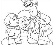 Coloriage et dessins gratuit L'enfant envoie une lettre au père noël à imprimer
