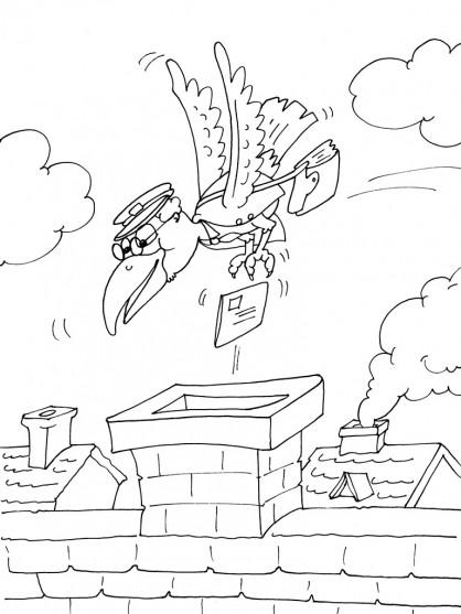 Coloriage et dessins gratuits L'oiseau facteur jette une lettre dans la cheminée à imprimer