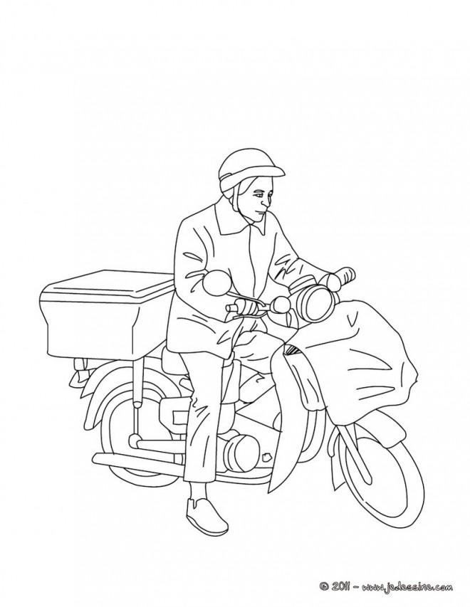 Coloriage le facteur v lo dessin gratuit imprimer - Facteur dessin ...