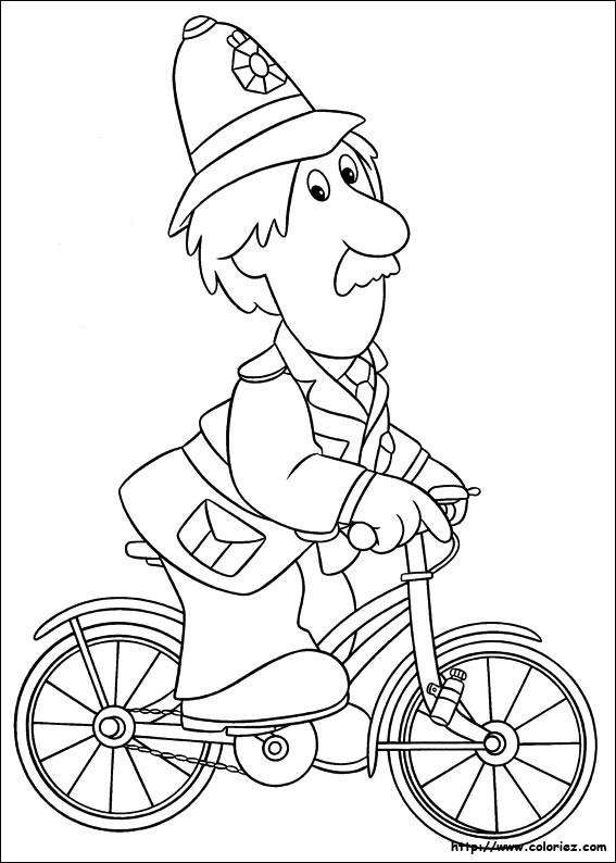 Coloriage et dessins gratuits Le facteur à vélo facile à imprimer
