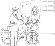 Coloriage et dessins gratuit Le facteur à vélo livre le courrier à imprimer