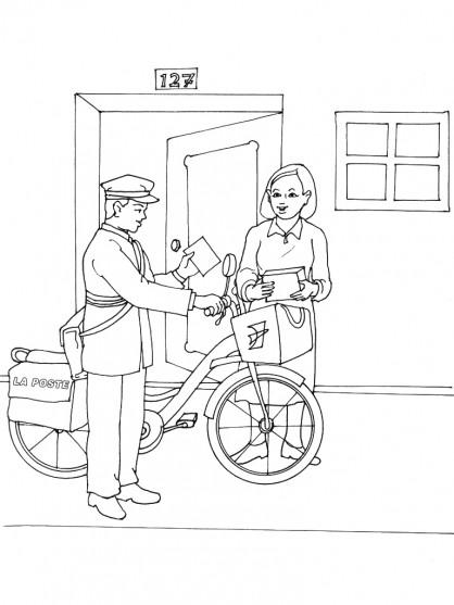 Coloriage le facteur v lo livre le courrier - Facteur dessin ...