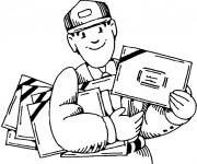 Coloriage et dessins gratuit Le Facteur avec des lettres facile à imprimer