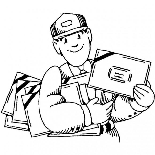 Coloriage et dessins gratuits Le Facteur avec des lettres facile à imprimer