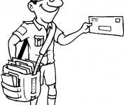 Coloriage et dessins gratuit Le Facteur avec un grand sac portant des lettres à imprimer