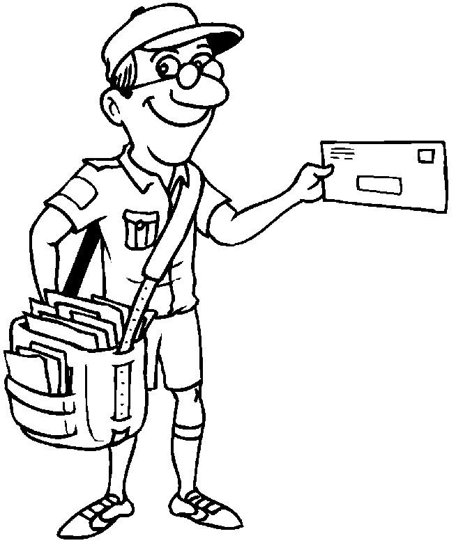 Coloriage et dessins gratuits Le Facteur avec un grand sac portant des lettres à imprimer