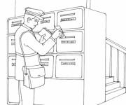 Coloriage Le Facteur dépose les lettres dans les boîtes aux lettres
