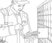 Coloriage et dessins gratuit Le facteur devant la boîte aux lettres à imprimer