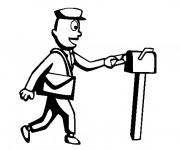 Coloriage Le facteur et la boîte aux lettres