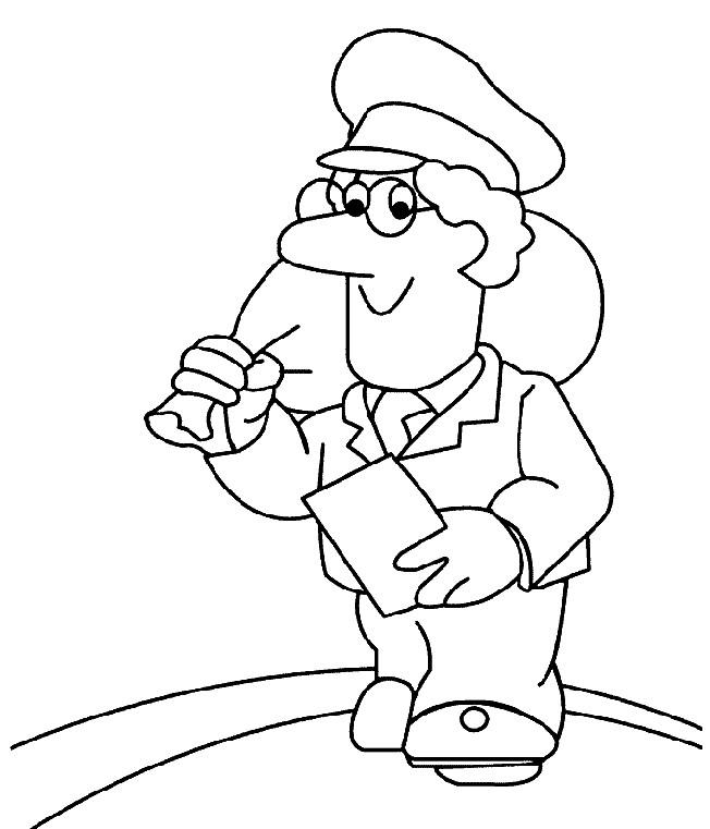 Coloriage et dessins gratuits Le Facteur et sac de courrier sur son dos à imprimer