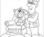 Coloriage Le facteur et un chat