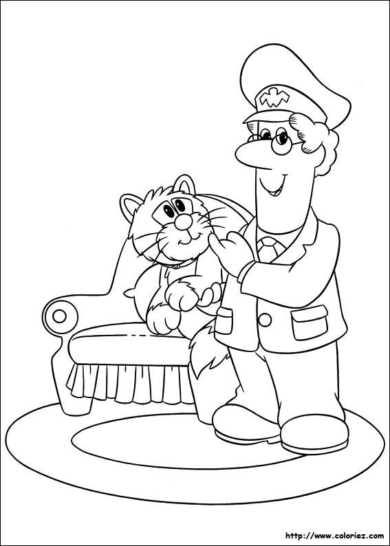 Coloriage et dessins gratuits Le facteur et un chat à imprimer