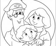 Coloriage Le facteur et une famille facile