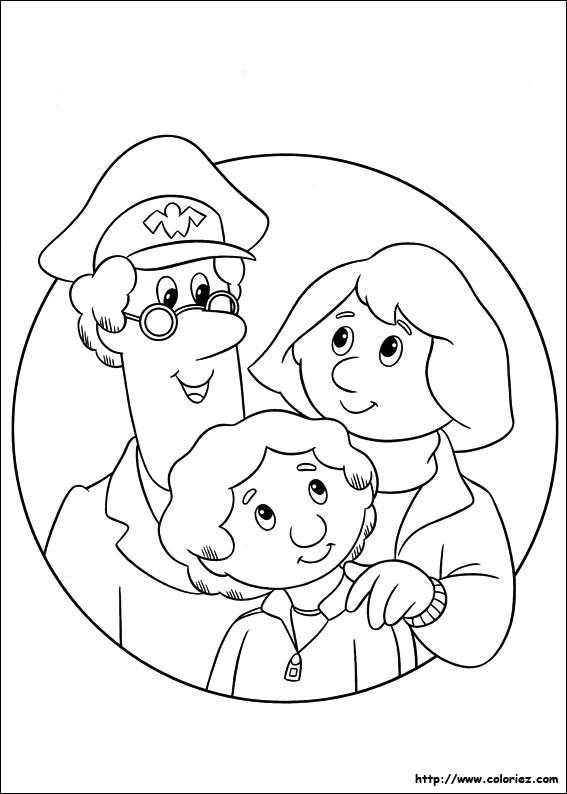 Coloriage et dessins gratuits Le facteur et une famille facile à imprimer