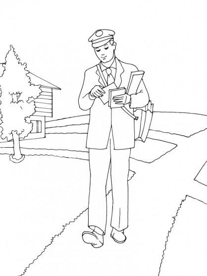 Coloriage et dessins gratuits Le facteur jette un coup d'oeil sur le courrier à imprimer