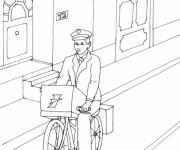 Coloriage Le facteur livre le courrier sur son vélo