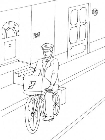 Coloriage et dessins gratuits Le facteur livre le courrier sur son vélo à imprimer