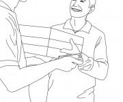 Coloriage et dessins gratuit Le Facteur livre un package à un homme à imprimer