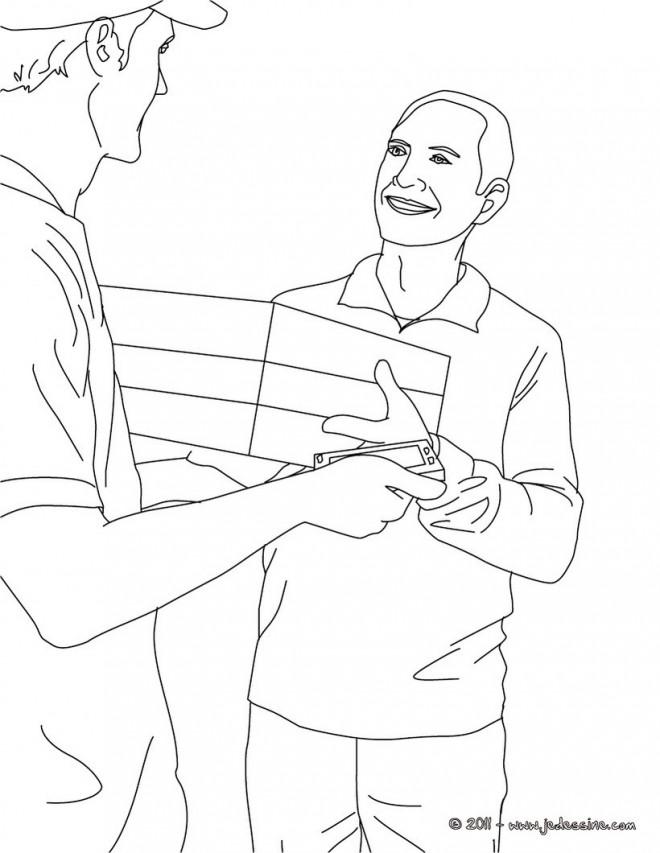 Coloriage et dessins gratuits Le Facteur livre un package à un homme à imprimer