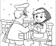 Coloriage Le facteur livre une lettre sous la neige