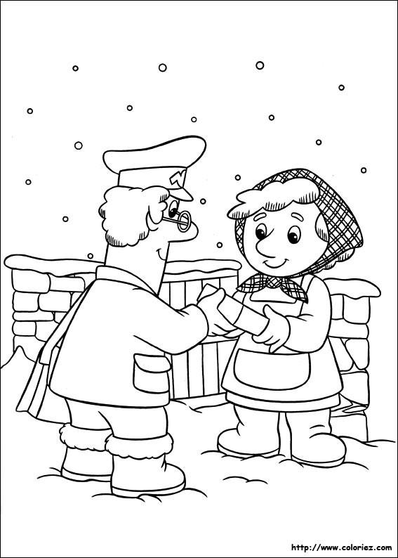 Coloriage et dessins gratuits Le facteur livre une lettre sous la neige à imprimer