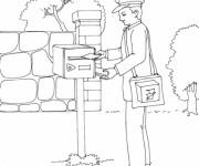 Coloriage et dessins gratuit Le facteur met les lettres dans une boîte à imprimer