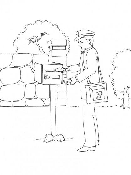 Coloriage et dessins gratuits Le facteur met les lettres dans une boîte à imprimer