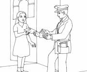 Coloriage et dessins gratuit Le facteur passe une lettre à une femme à imprimer