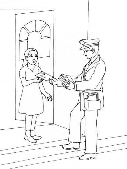Coloriage et dessins gratuits Le facteur passe une lettre à une femme à imprimer