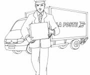 Coloriage Le facteur près d'un camion de poste
