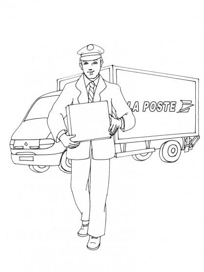 Coloriage et dessins gratuits Le facteur près d'un camion de poste à imprimer