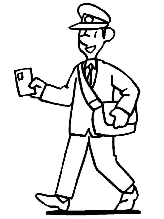 Coloriage et dessins gratuits Le facteur souriant à imprimer