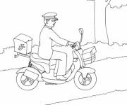 Coloriage Le facteur sur son vélo