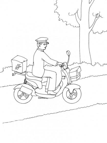 Coloriage le facteur sur son v lo dessin gratuit imprimer - Facteur dessin ...