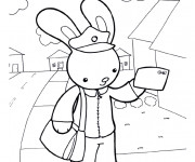 Coloriage Le lapin facteur
