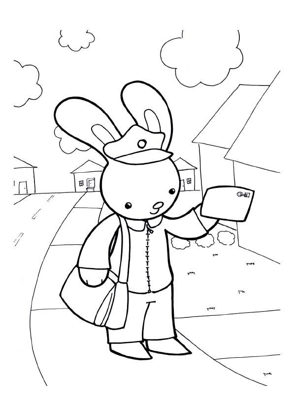 Coloriage et dessins gratuits Le lapin facteur à imprimer