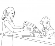 Coloriage Un agent de poste donne un package à une femme