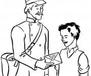 Coloriage Un enfant reçoit une lettre d'un facteur