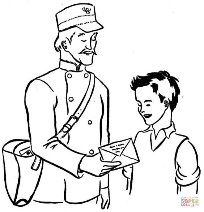 Coloriage un enfant re oit une lettre d 39 un facteur - Coloriage facteur ...