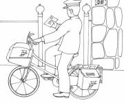 Coloriage et dessins gratuit Un facteur  à vélo livre une lettre à imprimer