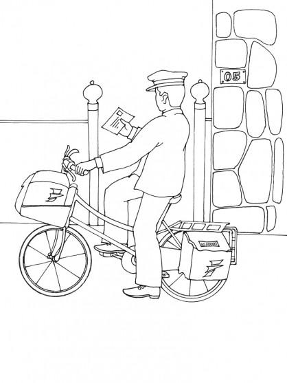 Coloriage et dessins gratuits Un facteur  à vélo livre une lettre à imprimer